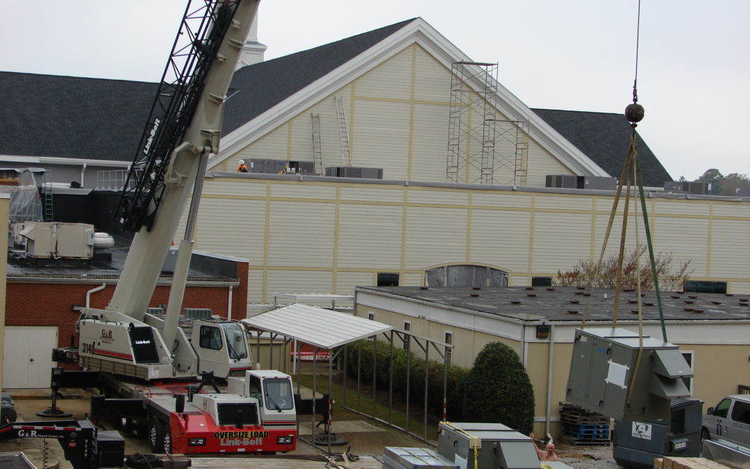 HVAC units at Asbury Church with the Link-Belt HTC 3140